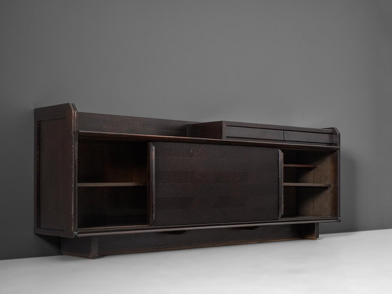 Guillerme & Chambron Dark Stained Sideboard in Oak For Sale 1
