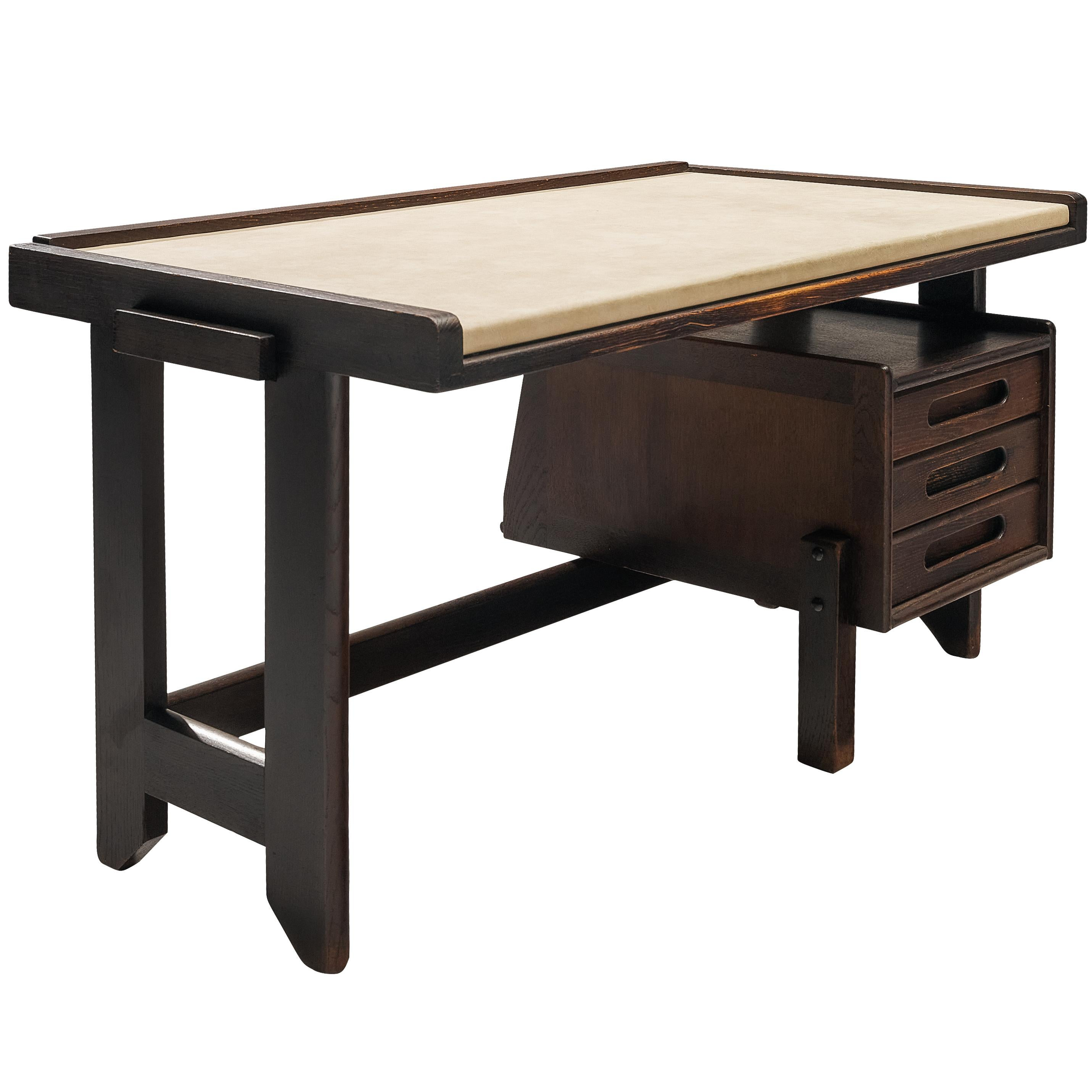 Guillerme & Chambron Desk in Stained Oak