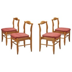 Guillerme & Chambron Dining Chairs Model 'Fumay' in Oak