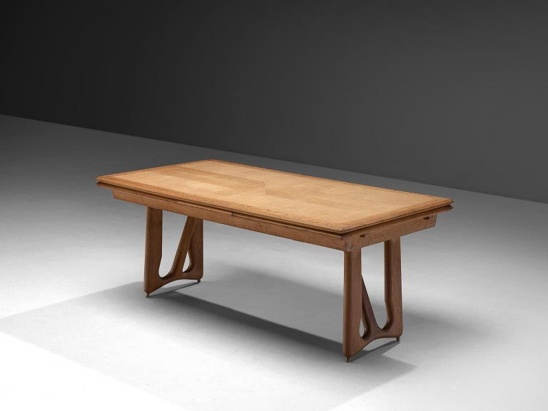Guillerme et Chambron for Votre Maison, dining table, oak, France, 1965.