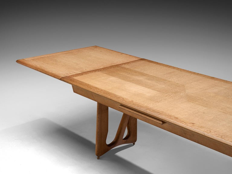 Mid-20th Century Guillerme & Chambron Extendable Dining Table in Oak For Sale