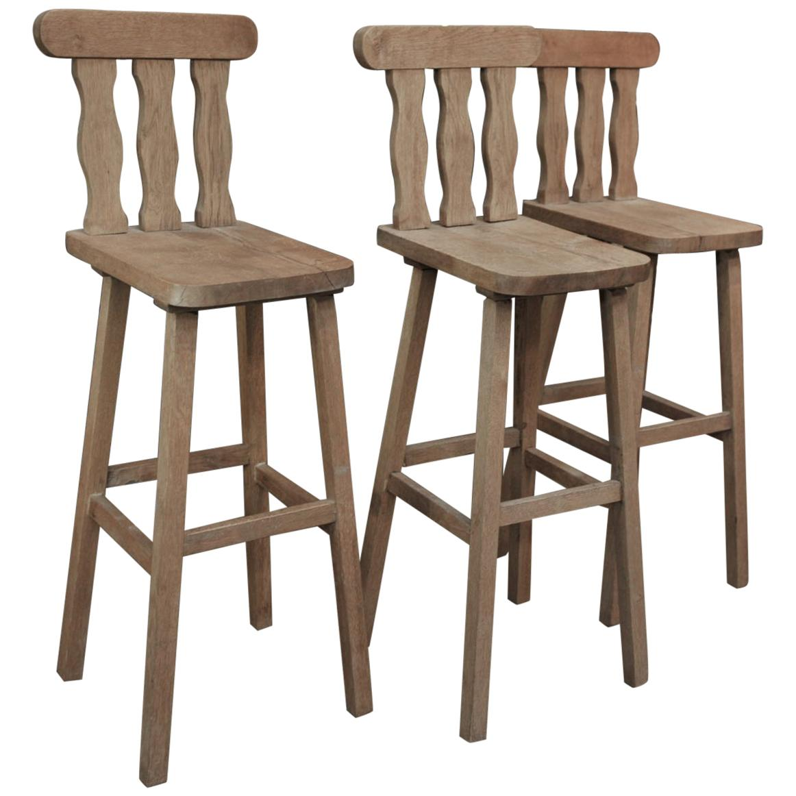 Guillerme & Chambron for Votre Maison Solid Oak Bar Stools, circa 1960