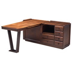 Guillerme & Chambron Free-Standing Corner Desk in Stained Oak