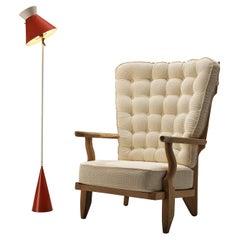 Guillerme & Chambron 'Grand Repos' Lounge Chair in Oak with Gilardi Floor Lamp