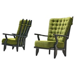 Guillerme & Chambron Highback Lounge Chairs in Solid Oak and Green Upholstery