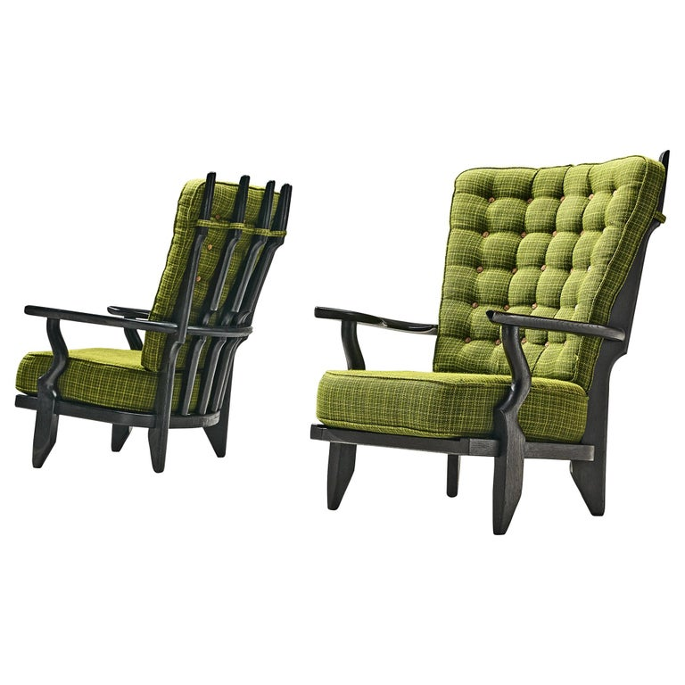 Guillerme & Chambron Highback Lounge Chairs in Solid Oak and Green Upholstery For Sale
