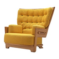 Guillerme & Chambron Large High Back Chair in Sunflower Yellow Upholstery