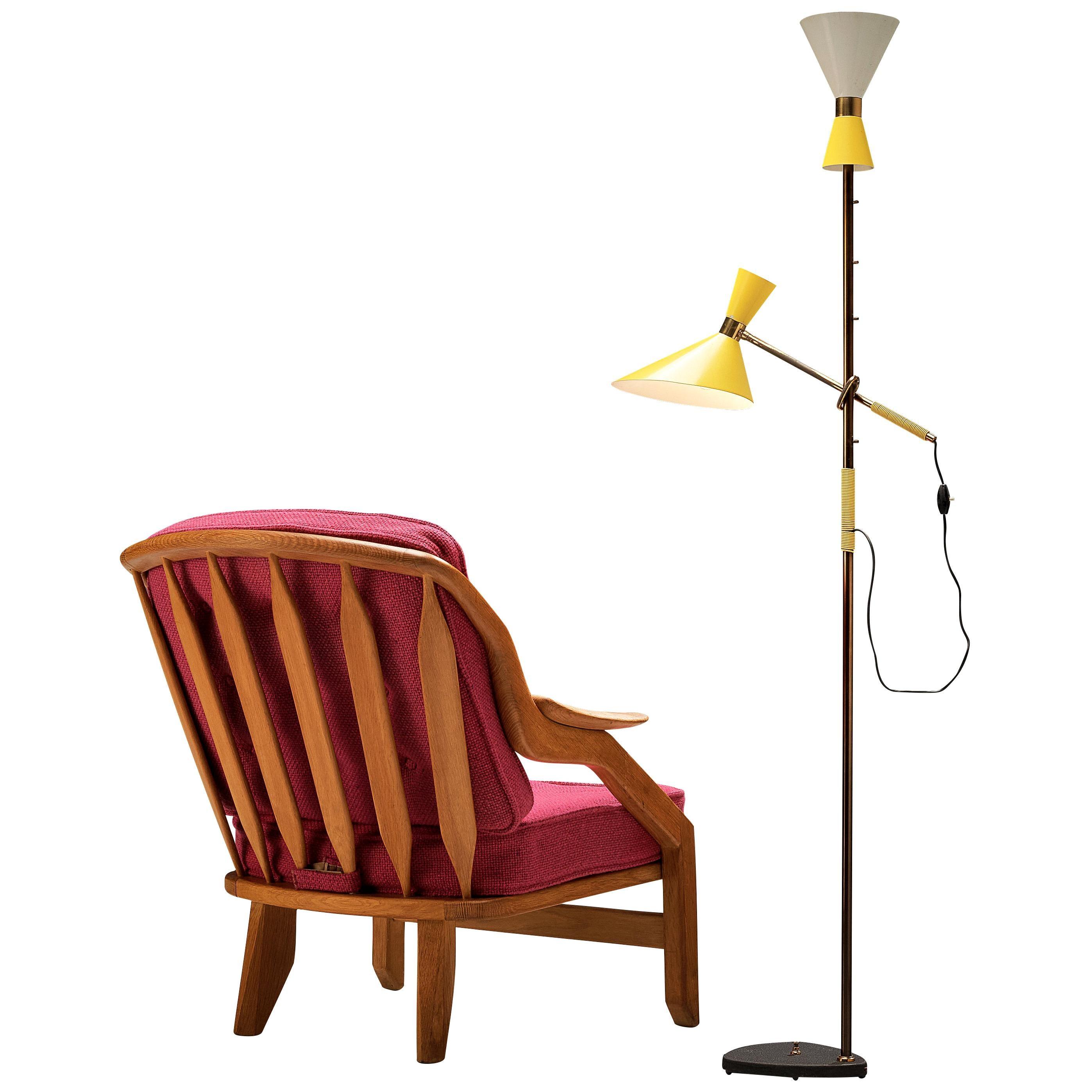 Guillerme & Chambron Lounge Chair and J.T. Kalmar 'Pelikan' Floor Lamp