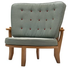 Guillerme & Chambron Lounge Chair in Green Fabric