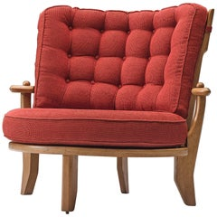 Guillerme & Chambron Lounge Chair in Oak and Red Fabric