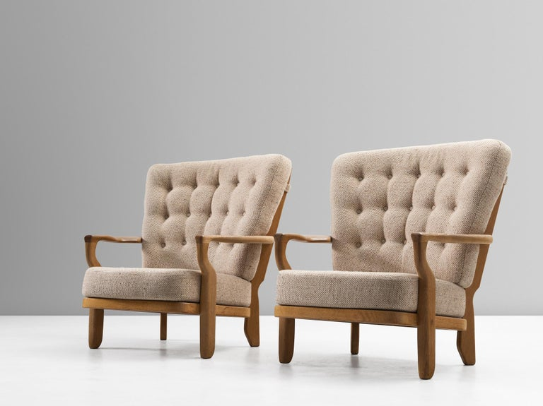 French Guillerme & Chambron Lounge Chair in Solid Oak For Sale