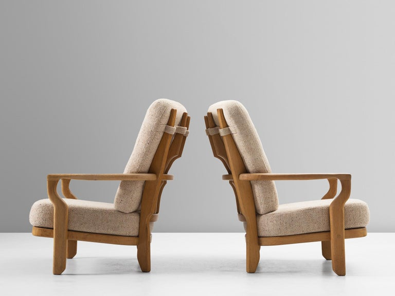 Guillerme & Chambron Lounge Chair in Solid Oak In Good Condition For Sale In Waalwijk, NL