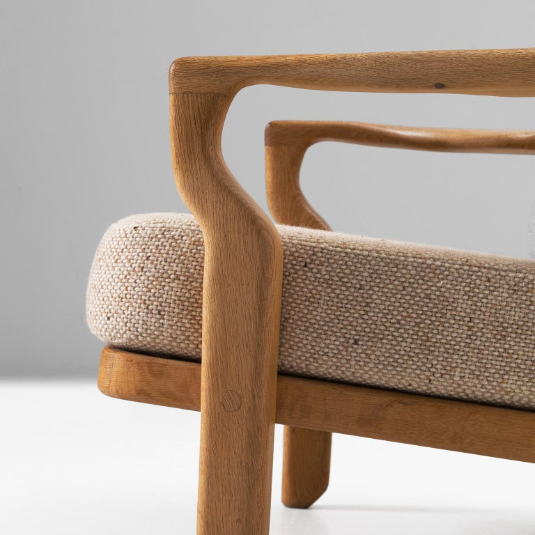 Mid-20th Century Guillerme & Chambron Lounge Chair in Solid Oak For Sale