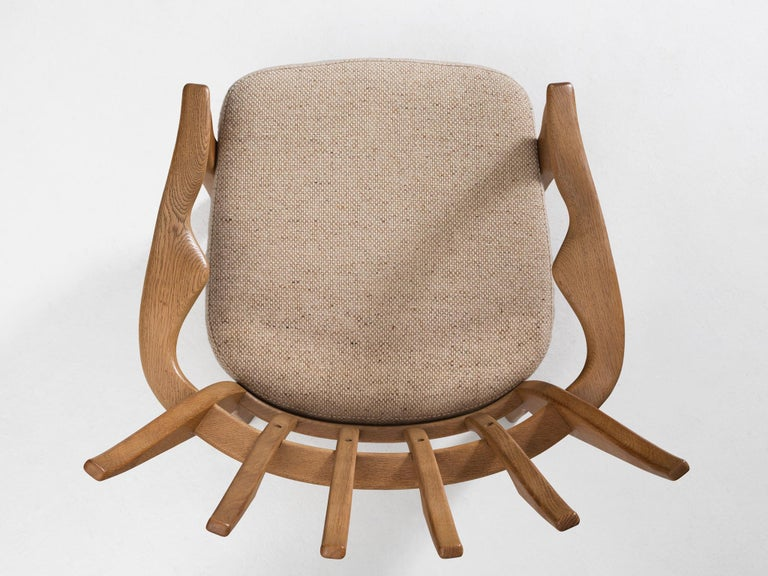 Guillerme & Chambron Lounge Chair in Solid Oak For Sale 1