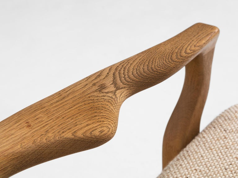 Guillerme & Chambron Lounge Chair in Solid Oak For Sale 2