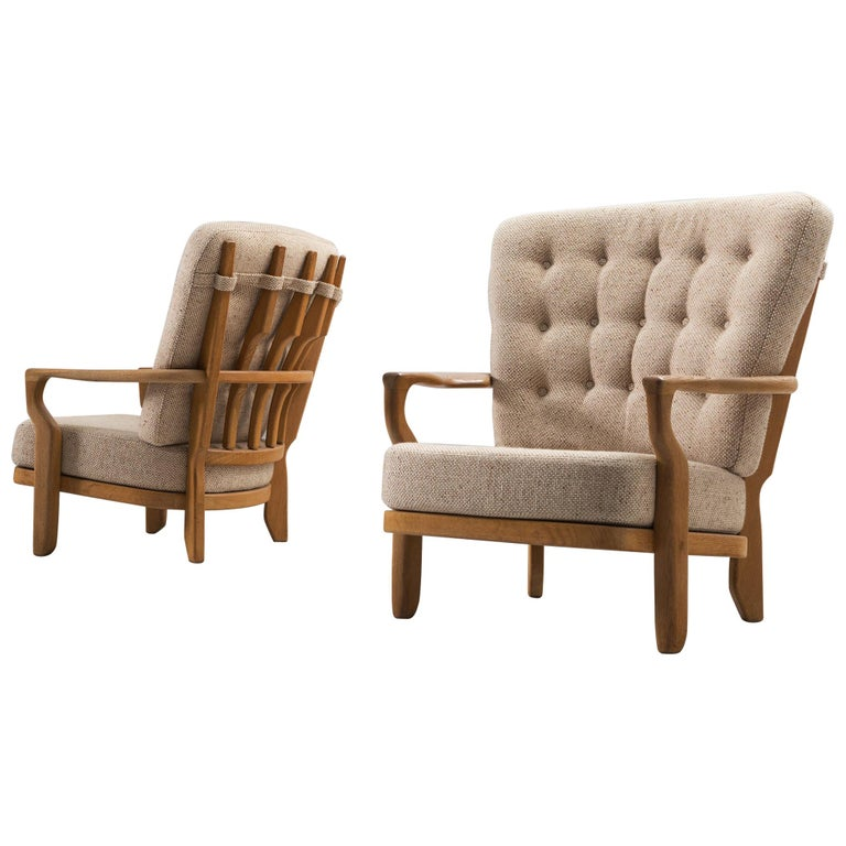 Guillerme & Chambron Lounge Chair in Solid Oak For Sale