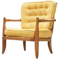 Guillerme & Chambron Lounge Chair in Solid Oak, France, 1960s