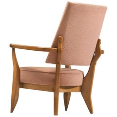 Guillerme & Chambron Lounge Chair with Soft Pink Upholstery, 1950s