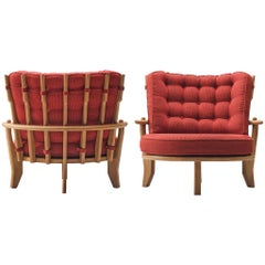 Guillerme & Chambron Loveseat in Red Fabric