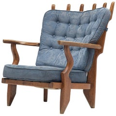 Guillerme & Chambron 'Mid Repos' Lounge Chair with Blue Floral Upholstery