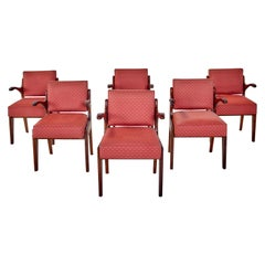 Guillerme & Chambron Midcentury Red Varnished Oak and Fabric French Chairs, 1960