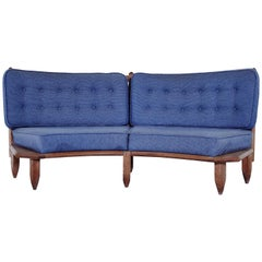 Guillerme & Chambron Midcentury Solid Oak and Blue Fabric Curved Sofa, 1960