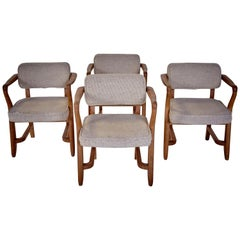 Guillerme & Chambron, Midcentury Solid Oak and Fabric French Chairs, 1959
