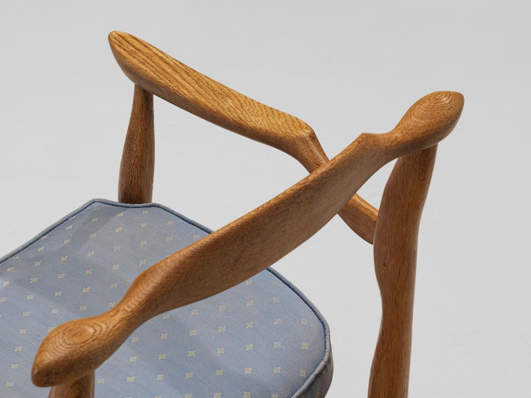 Mid-Century Modern Guillerme & Chambron Pair of Armchairs Model 'Fumay' in Oak and Blue Upholstery For Sale