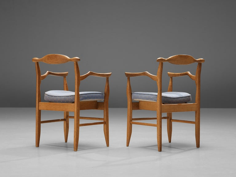 French Guillerme & Chambron Pair of Armchairs Model 'Fumay' in Oak and Blue Upholstery For Sale