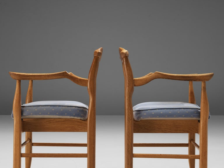 Guillerme & Chambron Pair of Armchairs Model 'Fumay' in Oak and Blue Upholstery For Sale 3