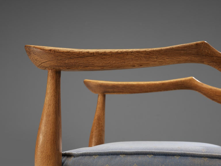 Fabric Guillerme & Chambron Pair of Armchairs Model 'Fumay' in Oak and Blue Upholstery For Sale