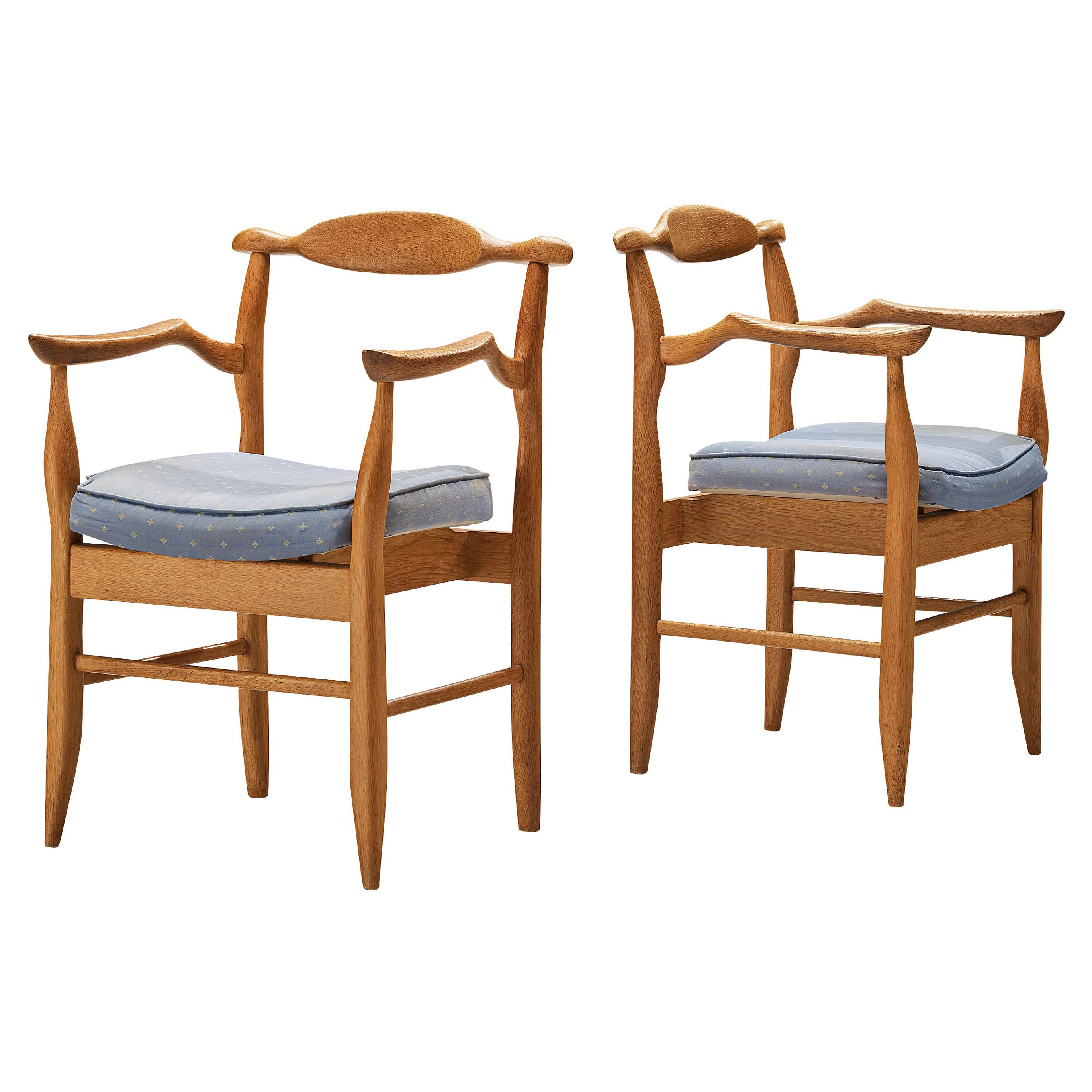 Guillerme & Chambron Pair of Armchairs Model 'Fumay' in Oak and Blue Upholstery