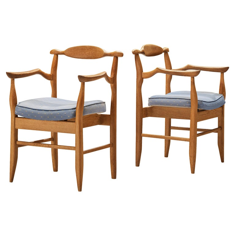 Guillerme & Chambron Pair of Armchairs Model 'Fumay' in Oak and Blue Upholstery For Sale