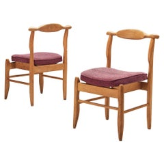 Guillerme & Chambron Pair of Dining Chairs Model 'Fumay' in Oak