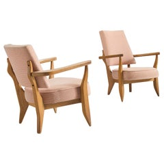 Guillerme & Chambron Pair of Lounge Chairs in Soft Pink Upholstery