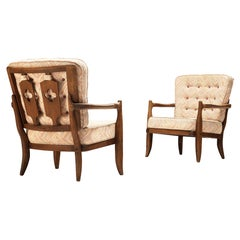Guillerme & Chambron Pair of Lounge Chairs Model 'Jose' in Oak