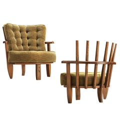Guillerme & Chambron Pair of Lounge Chairs Model 'Tricoteuse' in Oak