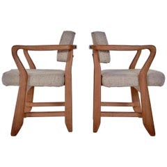 Guillerme & Chambron, Pair of Midcentury Solid Oak and Fabric French Chairs 1959