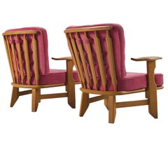 Guillerme & Chambron Pair of Solid Oak Armchairs in Pink Upholstery