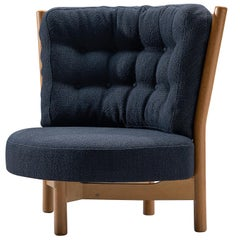 Guillerme & Chambron Reupholstered Navy Blue Loveseat