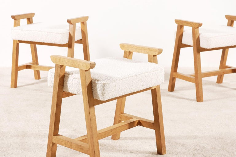 Set of 3 stools designed by the French Duo Guillerme et Chambron for the French company