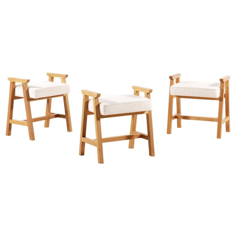 """Guillerme & Chambron, Set of 3 Oak """"Grégoire"""" Stools for Votre Maison, 1960s For Sale"""