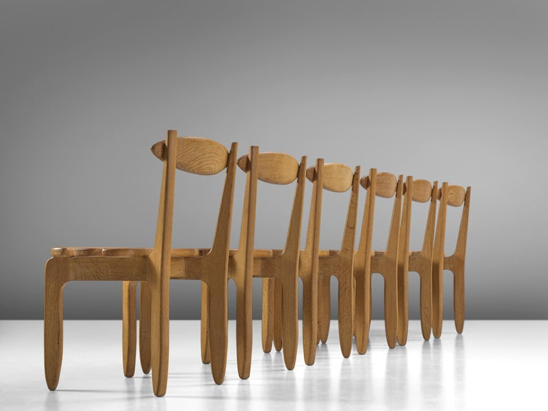 Mid-Century Modern Guillerme & Chambron Set of Six Dining Chairs in Solid Oak For Sale