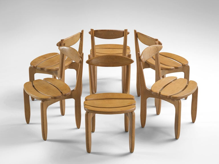 French Guillerme & Chambron Set of Six Dining Chairs in Solid Oak For Sale