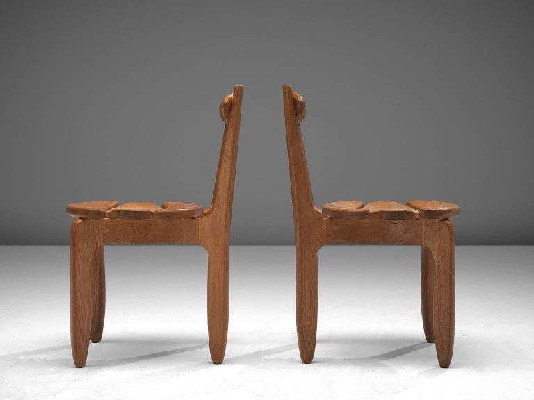 Guillerme & Chambron Set of Six Dining Chairs in Solid Oak In Good Condition For Sale In Waalwijk, NL