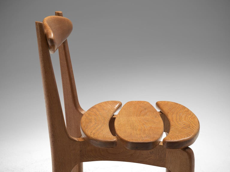 Mid-20th Century Guillerme & Chambron Set of Six Dining Chairs in Solid Oak For Sale