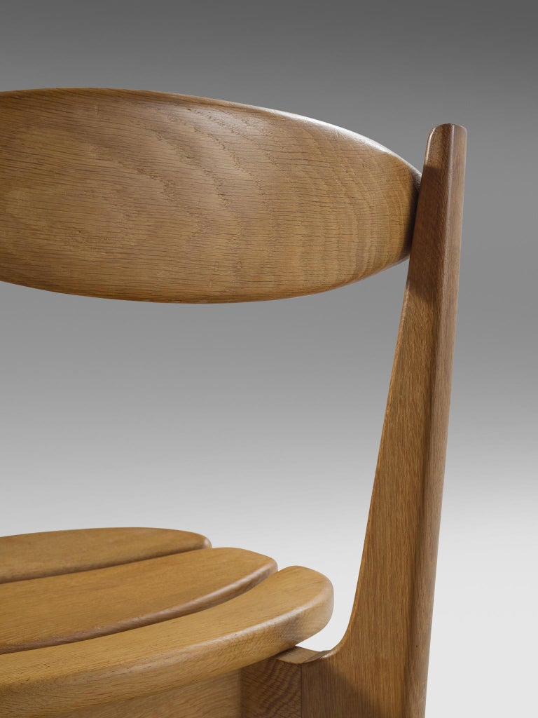 Guillerme & Chambron Set of Six Dining Chairs in Solid Oak For Sale 1