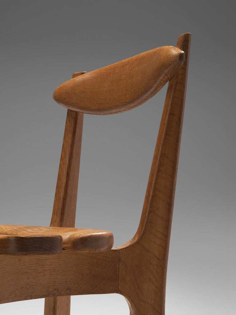 Guillerme & Chambron Set of Six Dining Chairs in Solid Oak For Sale 2