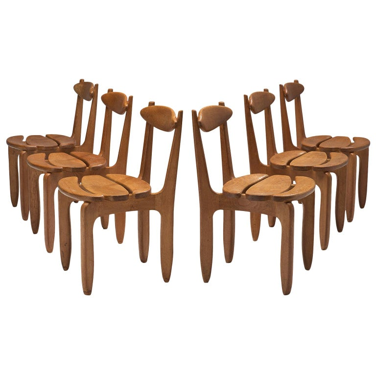 Guillerme & Chambron Set of Six Dining Chairs in Solid Oak For Sale