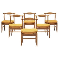 Guillerme & Chambron Set of Six Dining Chairs Model 'Fumay' in Oak